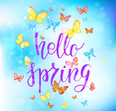 Hallo happy spring. Spring green lettering. Spring nature template for design banner,ticket, leaflet, card, poster and so on. Handwritten inscription. Modern Stock Photography