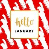 Hallo hauen Januar das Jahr kreativ, minimale Wintergrußkarte stock abbildung
