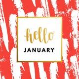 Hallo hauen Januar das Jahr kreativ, minimale Wintergrußkarte vektor abbildung
