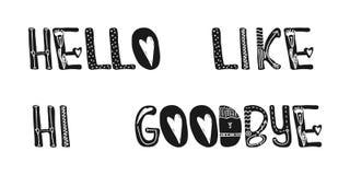 Hallo hello als vaarwel Zoete leuke inspiratie, typografie Grafisch het ontwerpelement van de kalligrafiefoto Een met de hand ges Stock Afbeelding
