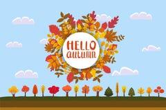 Hallo Herbst, Hintergrund mit fallenden Blättern, Gelb, Orange, Braun, Fall, Beschriftung, Schablone für Plakat, Fahne stock abbildung