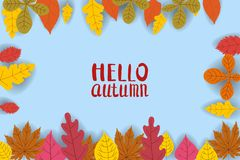 Hallo Herbst, Hintergrund mit fallenden Blättern, Gelb, Orange, Braun, Fall, Beschriftung, Schablone für Plakat, Fahne vektor abbildung