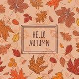 Hallo Herbst Hintergrund mit Hand gezeichneten Blättern und Rahmen Lizenzfreie Stockfotos