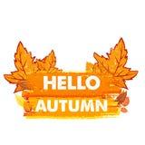 Hallo Herbst mit Blättern, gezeichnete Fahne Lizenzfreies Stockfoto