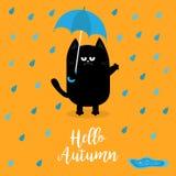 Hallo Herbst Schwarze Katze, die blauen Regenschirm hält Regentropfen, Pfütze Verärgertes trauriges Gefühl Hassfall Netter lustig stock abbildung