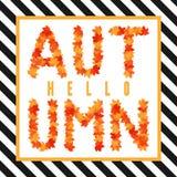 Hallo Herbstfahne Beschriftung mit Ahornblättern Stockfotos