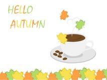 Hallo HerbstKaffeetasse- und Blatthintergrund für Herbsthintergrund Stockfotografie