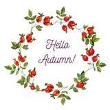 Hallo Herbstkarte mit Hüftenrahmen, flüchtiges Design, Vektorillustration Lizenzfreie Stockbilder