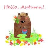 Hallo Herbstkarte mit Zeichentrickfilm-Figur-Bären, Vektorillustration Vektor Abbildung