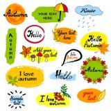 Hallo Herbstsaisongruß-Ausweisschablone Die Vektorillustration der Hand gezeichnet verlässt das Skizzieren auf Rot und Gelb Stockbild