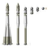 Hallo-Hi-detailed ruimteraket met eerste ruimteschip Stock Foto's