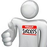 Hallo ist mein Name Erfolgnametag-Personen-Händedruck vektor abbildung
