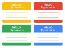 Hallo ist mein Name Zeichen mit leerem weißem copyspace Lizenzfreie Stockbilder