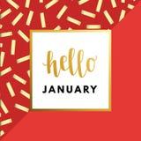 Hallo Januar kreativ, minimale Wintergrußkarte stock abbildung