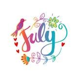 Hallo Juli-Handbeschriftungs-Phrase vektor abbildung