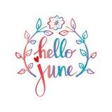 Hallo Juni lizenzfreie abbildung