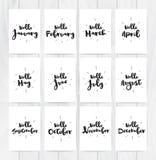 Hallo Karten des Monats 12 Hand gezeichnetes Design, Kalligraphie Vektorfotoüberlagerung Schwarzes auf weißem Hintergrund Verwend Lizenzfreie Stockfotos