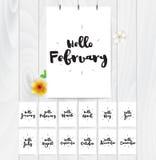 Hallo Karten des Monats 12 Hand gezeichnetes Design, Kalligraphie Vektorfotoüberlagerung Schwarzes auf weißem Hintergrund Verwend Stockbild