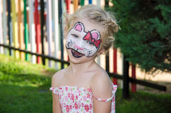 Hallo kitty face painting Stock Images