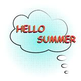 Hallo komischer Textklangeffekt des Sommers in der Pop-Arten-Art Vektorspracheblase mit Wort und kurzer Phrase karikatur lizenzfreie abbildung