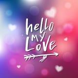 Hallo meine Liebe - Kalligraphie für Einladung, Grußkarte, Druck Stockbilder