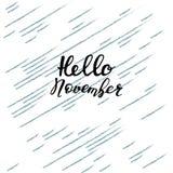 Hallo Nov., hand het van letters voorzien, citaten Moderne motivatiekalligrafie, ty Stock Afbeeldingen