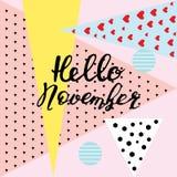 Hallo Nov., hand het van letters voorzien, citaten Moderne motivatiekalligrafie, ty Royalty-vrije Stock Afbeelding