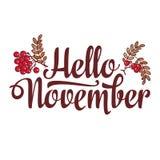 Hallo November Beschriftungszusammensetzungsflieger oder Fahnenschablone Verkauf des Textes vektor abbildung