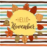 Hallo November-Herbstfliegerschablone mit Beschriftung Helle Fall-Blätter Plakat, Karte, Aufkleber, Fahnendesign Vektor Lizenzfreie Abbildung