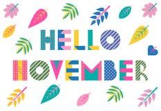 Hallo November Modischer geometrischer Guss in Memphis-Art von 80s-90s Vektorhintergrund mit buntem Herbstlaub stock abbildung