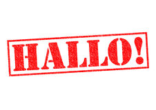 HALLO!. Rubber Stamp over a white background Stock Photos