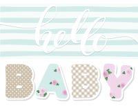 Hallo Schätzchen Nette Textilbuchstaben Für Kinderalbumdekoration Babyparty stock abbildung