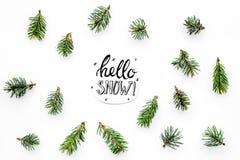 Hallo Schneehandbeschriftung Wintermuster mit Fichtenzweigen auf weißem Draufsichtmuster des Hintergrundes Lizenzfreie Stockfotografie