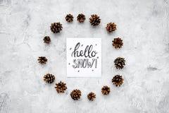 Hallo Schneehandbeschriftung Wintermuster mit pinecones auf Draufsicht des grauen Hintergrundes Stockfotografie