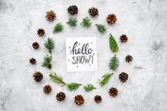 Hallo Schneehandbeschriftung Wintermuster mit pinecones und Fichtenzweig auf Draufsicht des grauen Hintergrundes Lizenzfreie Stockbilder