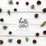 Hallo Schneehandbeschriftung Wintermuster mit pinecones und Fichtenzweig auf Draufsicht des weißen hölzernen Hintergrundes Lizenzfreie Stockfotos