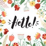 Hallo! schwärzen Sie handgeschriebenen Beschriftungshintergrund und -karte mit Blumenrahmen mit Tinte Lizenzfreies Stockfoto