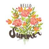 Hallo, Sommer Übergeben Sie gezogene Postkartenschablone mit Blumenstrauß des Stiftes Stockbilder