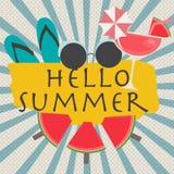 Hallo Sommer als Spaß-Vektor Lizenzfreie Stockbilder