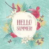 Hallo Sommer! Fahne mit tropischen Vögeln und Blumen vektor abbildung