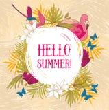 Hallo Sommer! Fahne mit tropischen Vögeln und Blumen stock abbildung