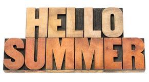Hallo Sommer - fassen Sie Zusammenfassung in der hölzernen Art ab Stockfoto
