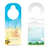 Hallo Sommer-Handbeschriftungs-Sommer-Ferien-Konzept-Türhänger lizenzfreie abbildung