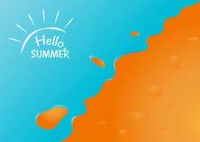 Hallo Sommer im Sandstrand mit Ozeanhintergrund-Vektordesign Stockbild