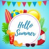 Hallo Sommer-Plakat-Design mit Kreis-Text-Raum Lizenzfreie Stockfotografie