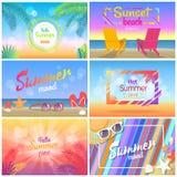 Hallo Sommer 2018, Sonnenuntergang-Strandfest, Sommer-Stimmung stock abbildung