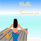 Hallo Sommer Strand-Vektor-Design Lizenzfreie Stockfotografie
