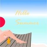 Hallo Sommer Strand-Vektor-Design Stockfoto