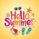 Hallo Sommer-Text-Titel-Plakat-Design mit realistischen Elementen des Vektor-3D Lizenzfreie Stockfotos