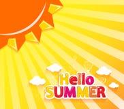 Hallo Sommer-Vektor-Illustration mit Sun- und Sommer-Ikonen Lizenzfreie Stockfotos